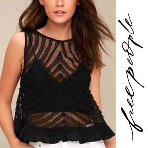 Free People Lace Sheer Crop Top She's a Doll Tank